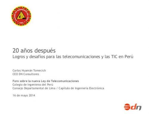 20 años después Conferencia Colegio de Ingenieros del Perú