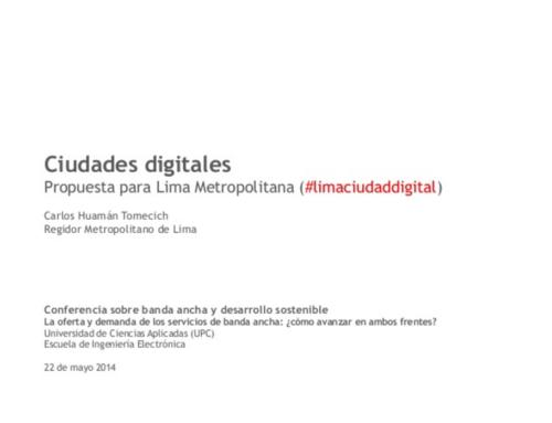 Ciudades Digitales Banda ancha para e desarrollo sostenible