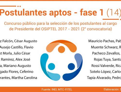 Postulantes aptos – fase 1 (14)Selección de Presidente del OSIPTEL 2017 - 2021 (2° convocatoria)