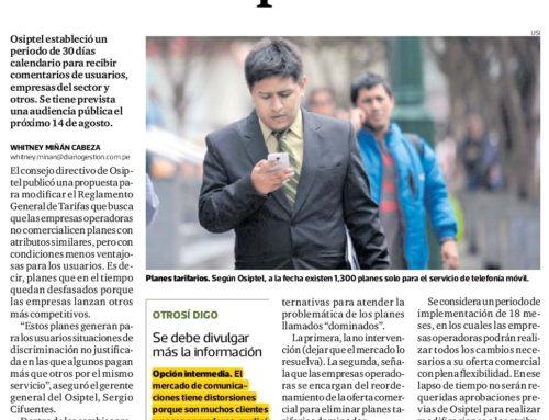 Osiptel busca prohibir venta de planes tarifarios menos competitivosGestión