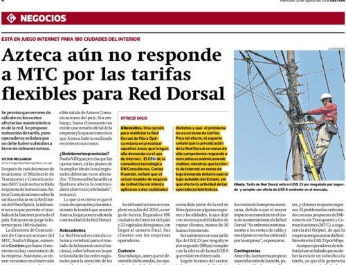Azteca aún no responde a MTC por las tarifas flexibles para Red DorsalGestión
